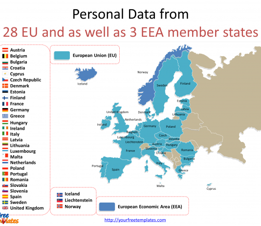 General Data Protection Regulation with national flag icons for 28 EU Countries on the General Data Protection Regulation PowerPoint templates