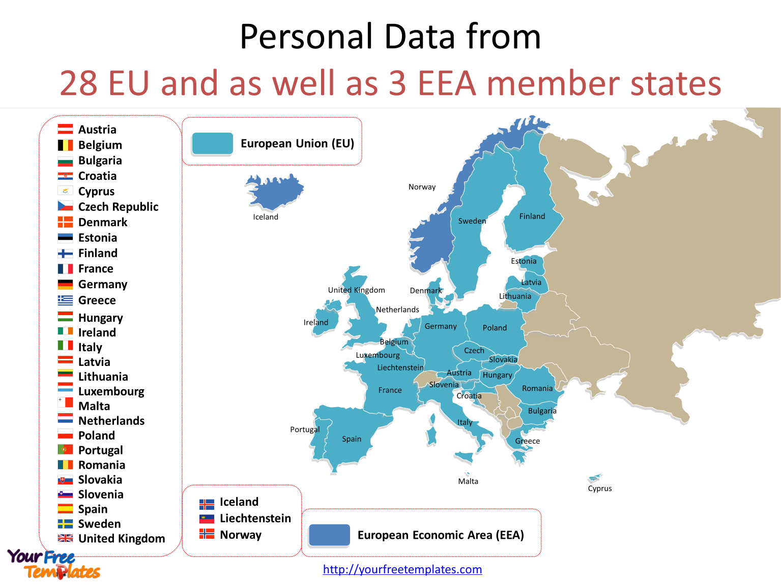 General Data Protection Regulation with national flag icons for 28 EU Countries on the General Data Protection Regulation and GDPR compliance PowerPoint templates