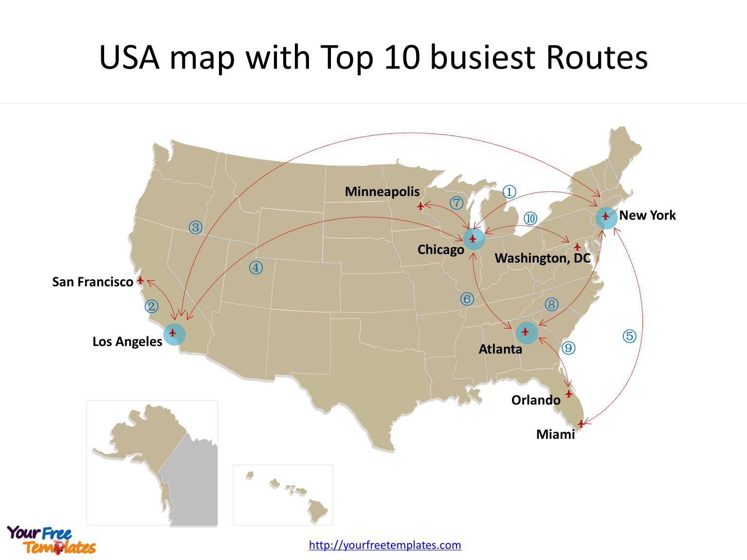 TOP busiest Air Route map for US in PowerPoint templates