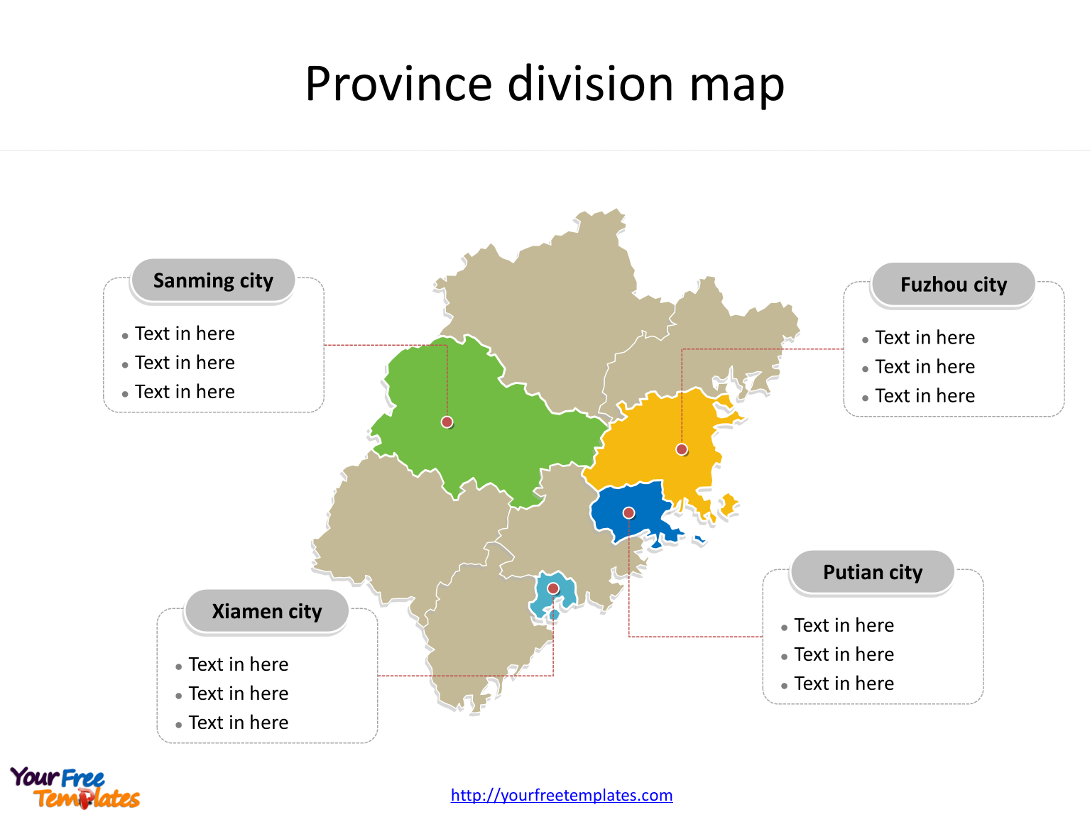 Province of Fujian map with most populated divisions labeled on the Fujian maps PowerPoint templates