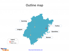 Province of Fujian map with outline and cities labeled on the Fujian maps PowerPoint templates
