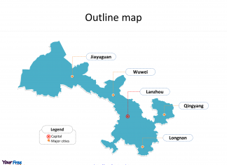 Province of Gansu map with outline and cities labeled on the Gansu maps PowerPoint templates