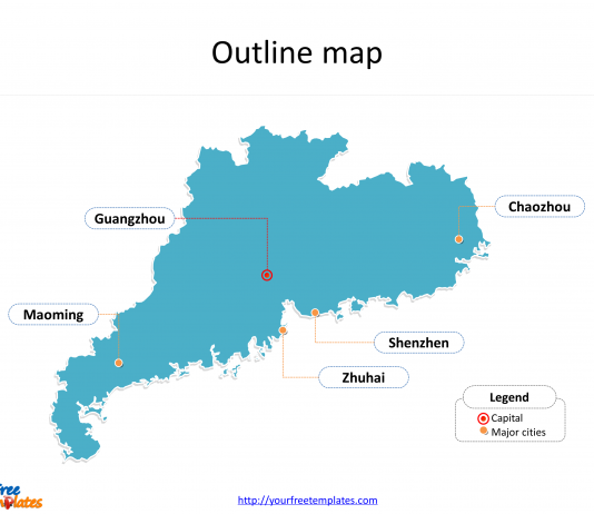 Province of Guangdong map with outline and cities labeled on the Guangdong maps PowerPoint templates