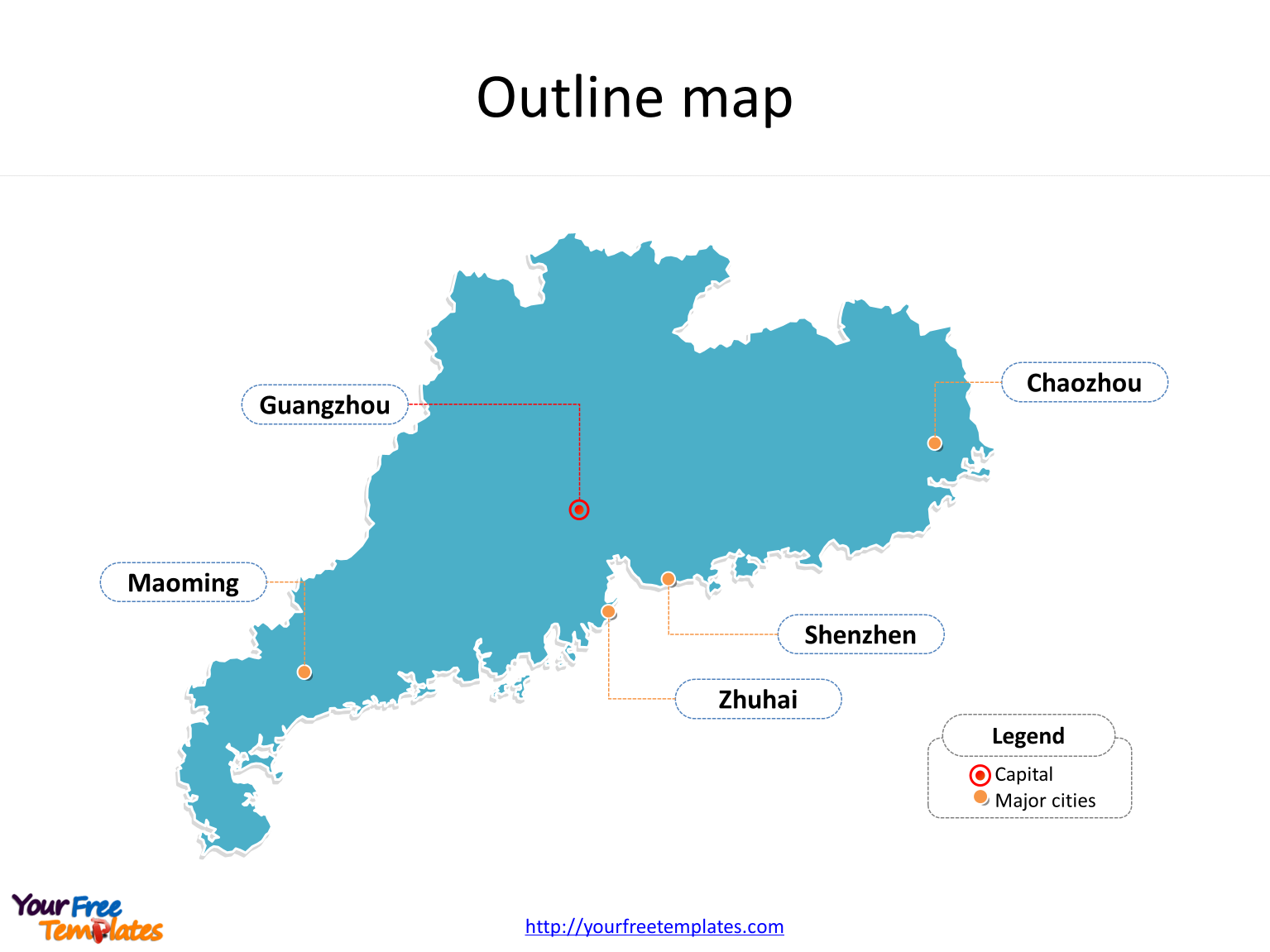 guangdong map powerpoint template