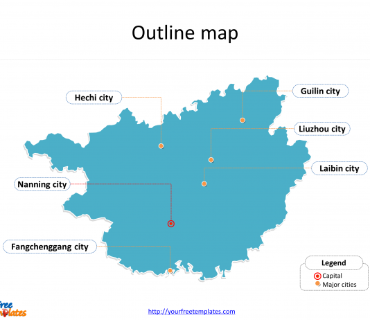 Guangxi Zhuang Autonomous Region of Guangxi map with outline and cities labeled on the Guangxi maps PowerPoint templates