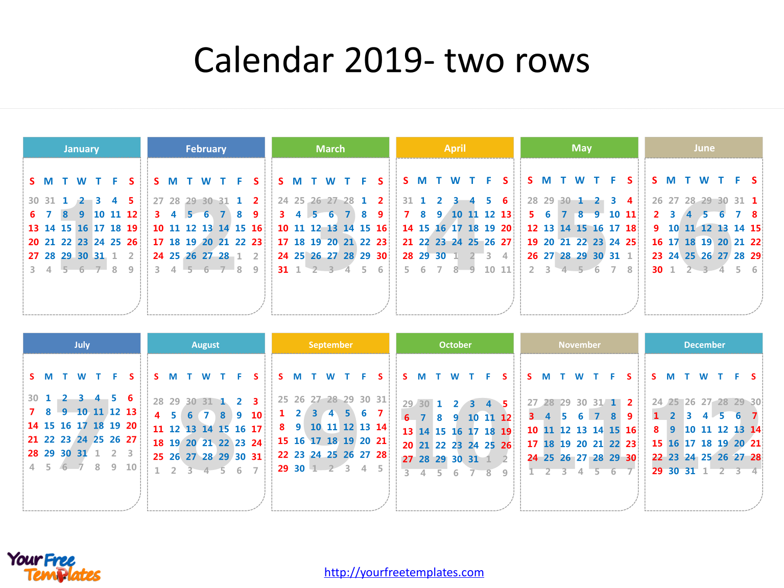 2019 Calendar Dates Printable calendar 2019 template   Free PowerPoint Templates