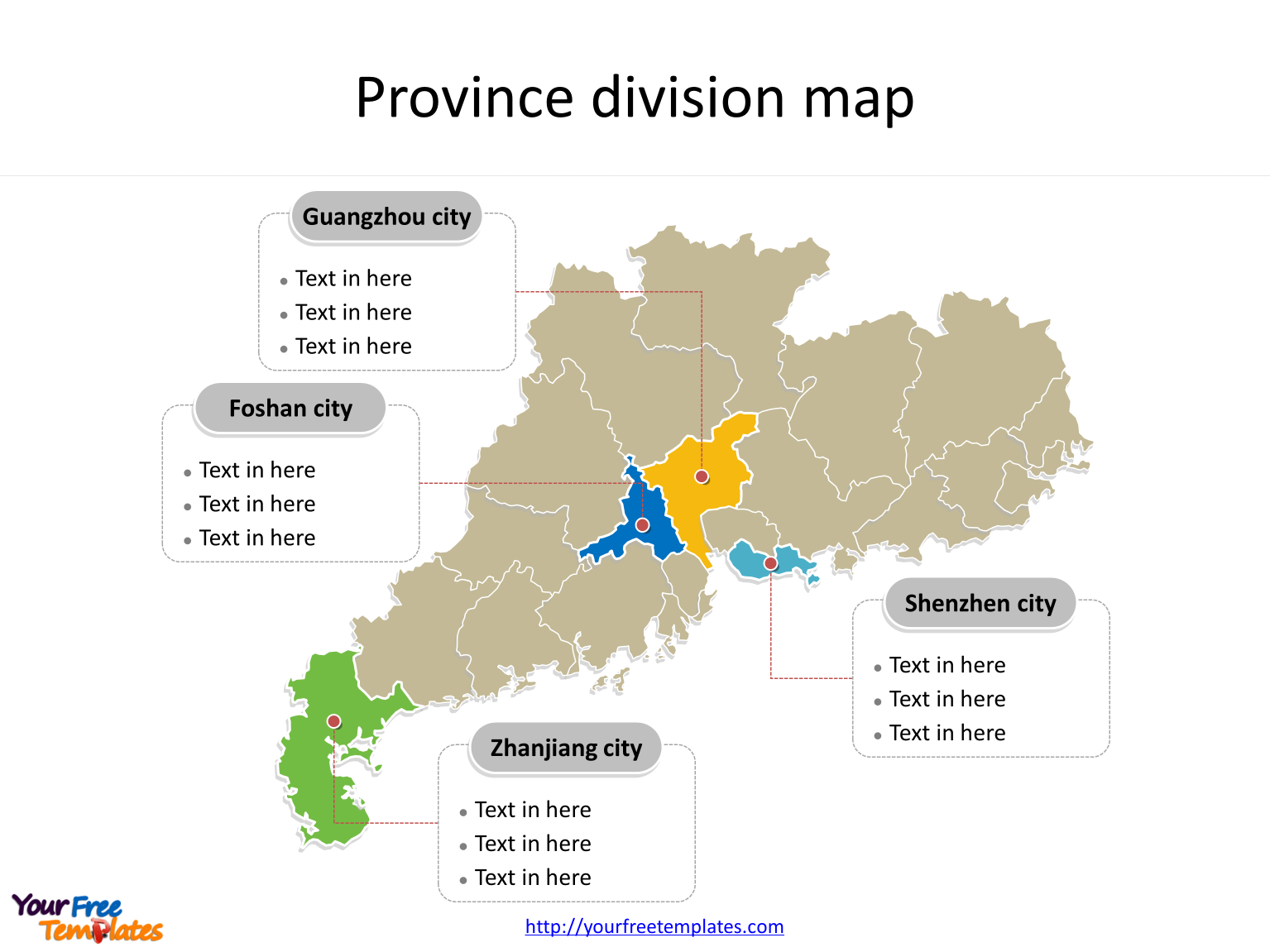 Province of Guangdong map with most populated divisions labeled on the Guangdong maps PowerPoint templates