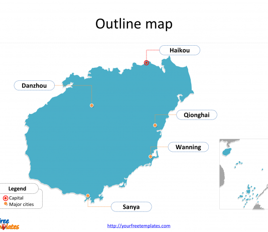 Province of Hainan map with outline and cities labeled on the Hainan maps PowerPoint templates