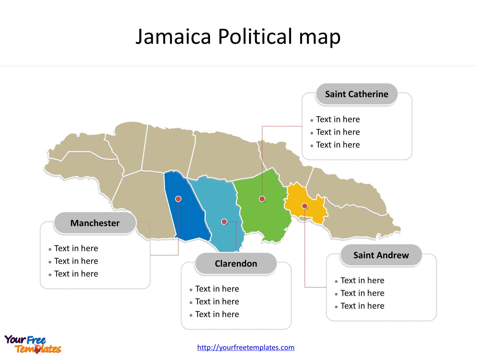 Map of Jamaica with political division and major Parishes labeled on the Jamaica map blank templates