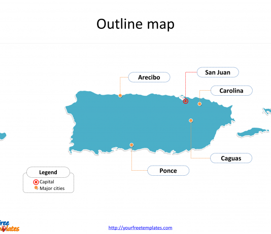 State of Puerto Rico map with outline and cities labeled on the Puerto Rico maps PowerPoint templates
