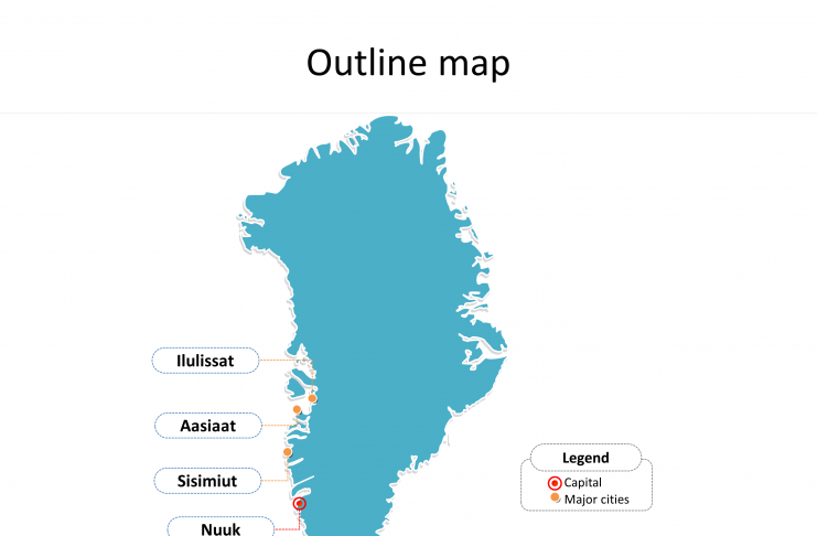 Map of Greenland with outline and cities labeled on the Greenland map free templates