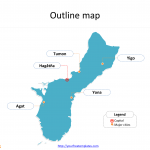 Guam map with outline and cities labeled on the Guam maps PowerPoint templates