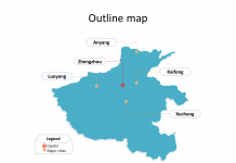 Province of Henan map with outline and cities labeled on the Henan maps PowerPoint templates