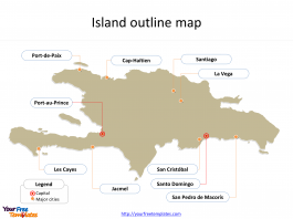 Map of Hispaniola with outline and cities labeled on the Hispaniola map free templates