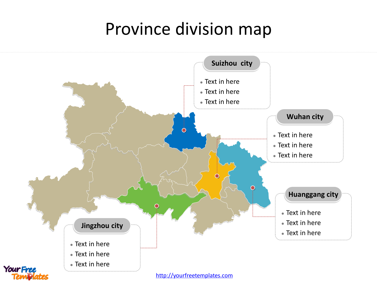 Province of Hubei map with most populated divisions labeled on the Hubei maps PowerPoint templates