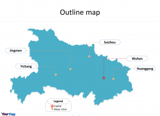Province of Hubei map with outline and cities labeled on the Hubei maps PowerPoint templates