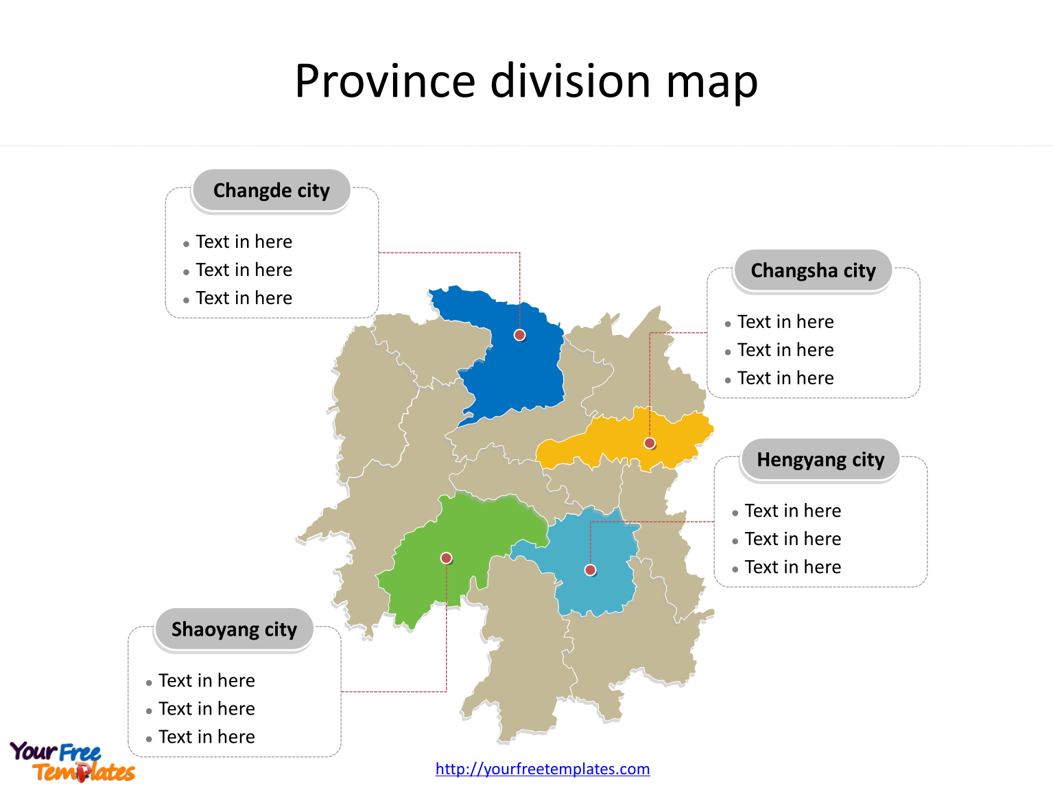 Province of Hunan map with most populated divisions labeled on the Hunan maps PowerPoint templates