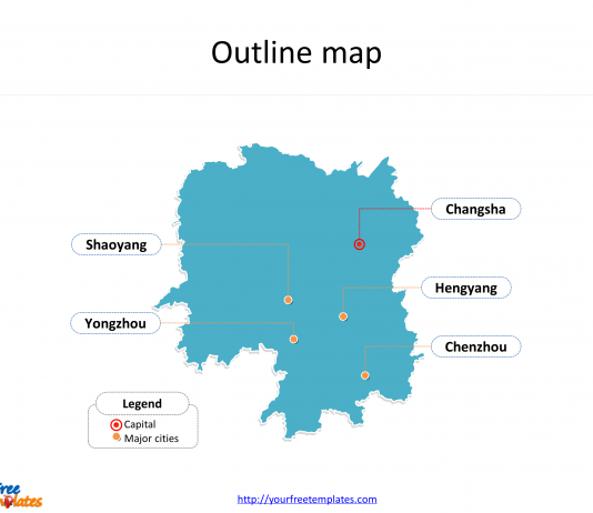 Province of Hunan map with outline and cities labeled on the Hunan maps PowerPoint templates