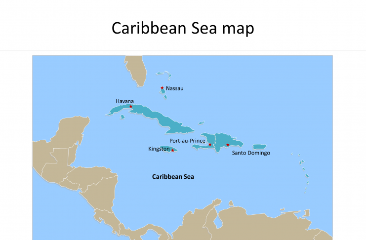 Map of Caribbean Sea with Capitals labeled on the Caribbean Sea map free templates