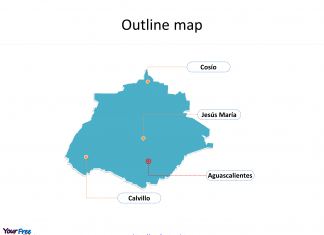 State of Mexico Aguascalientes map with outline and cities labeled on the Aguascalientes maps PowerPoint templates