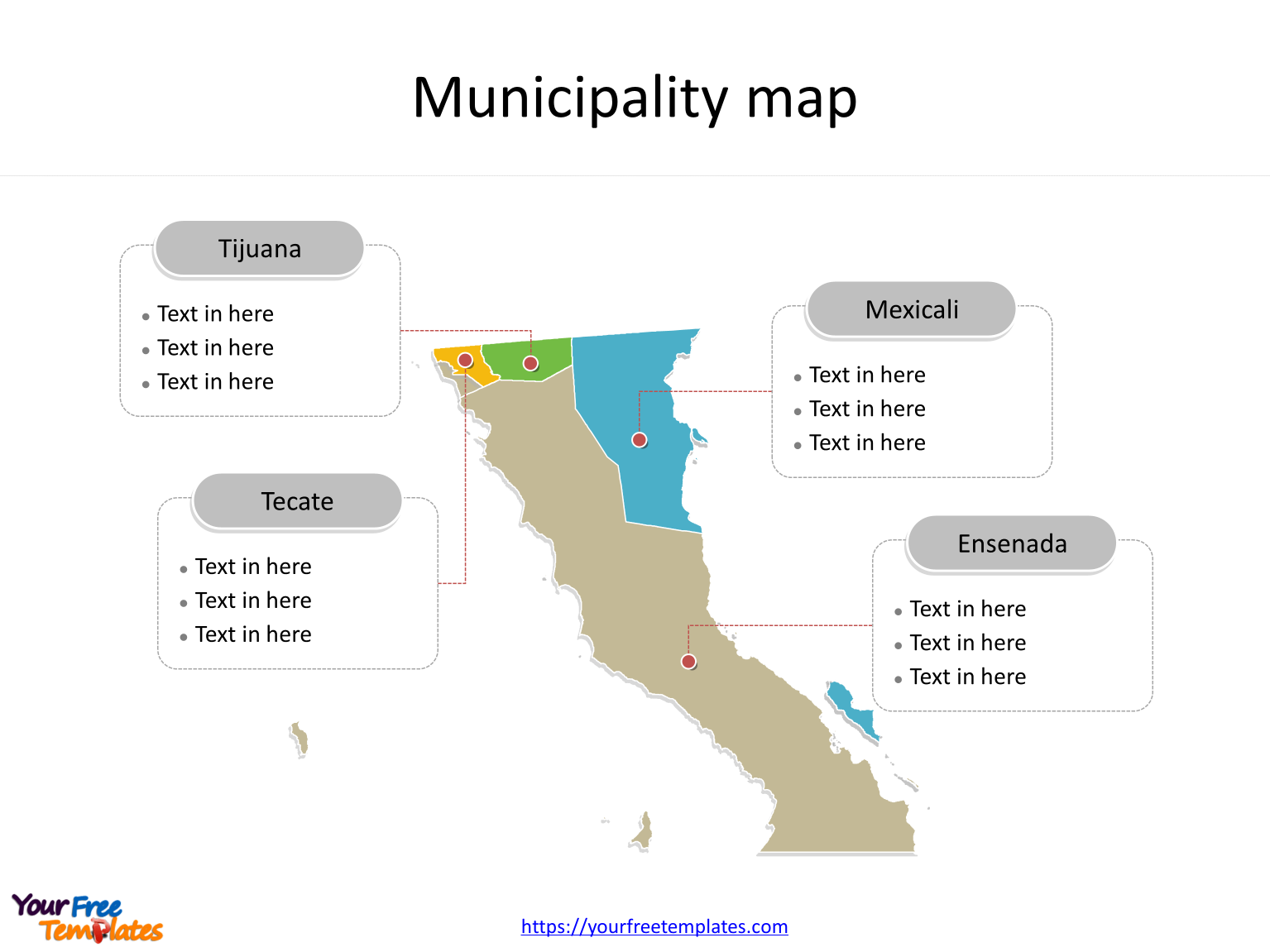 State of Mexico Baja California map with outline and cities labeled on the Baja California maps PowerPoint templates