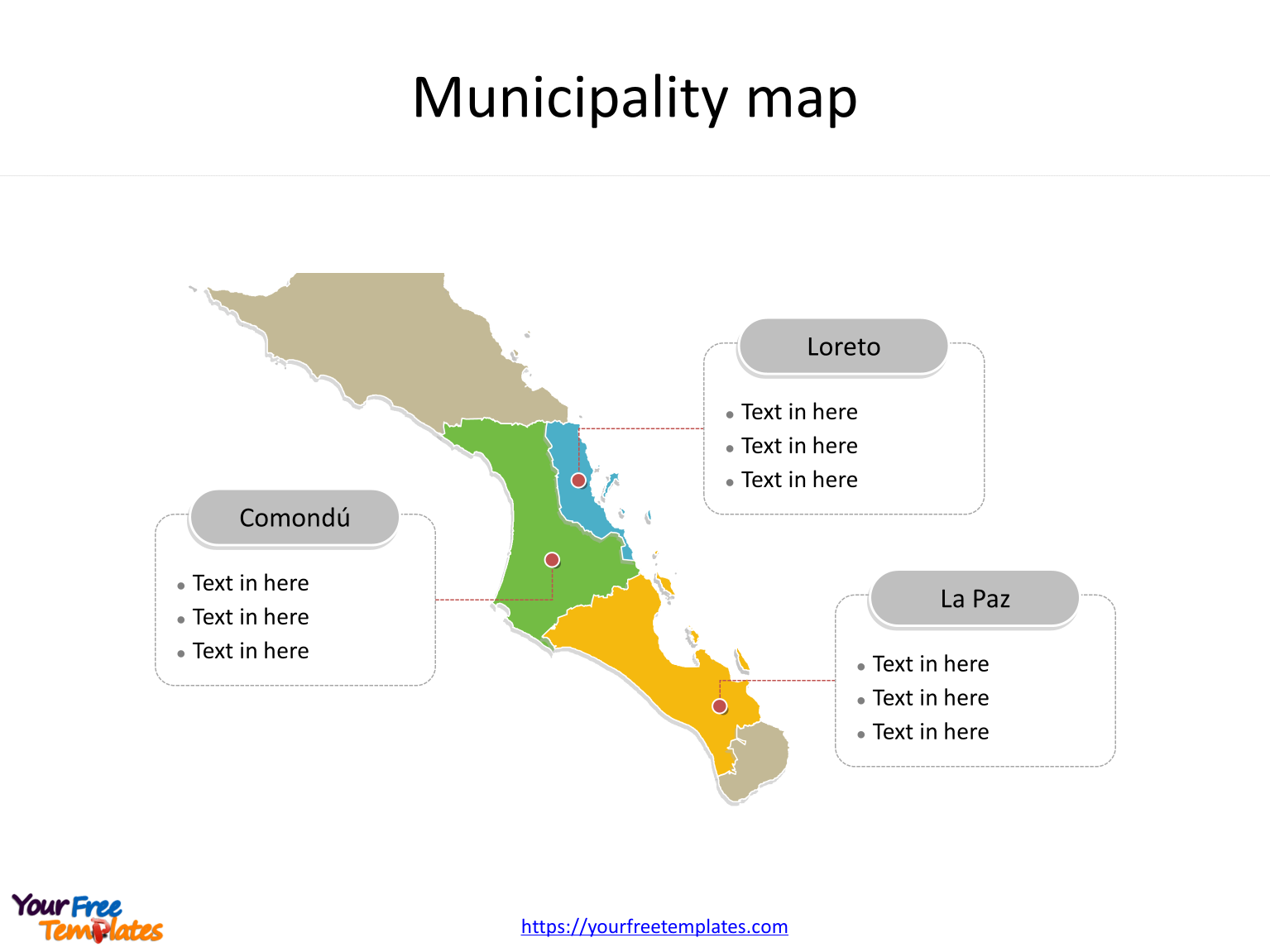 State of Mexico Baja California Sur map with most populated municipalities labeled on the Baja California Sur maps PowerPoint templates