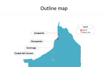 State of Mexico Campeche map with outline and cities labeled on the Campeche maps PowerPoint templates