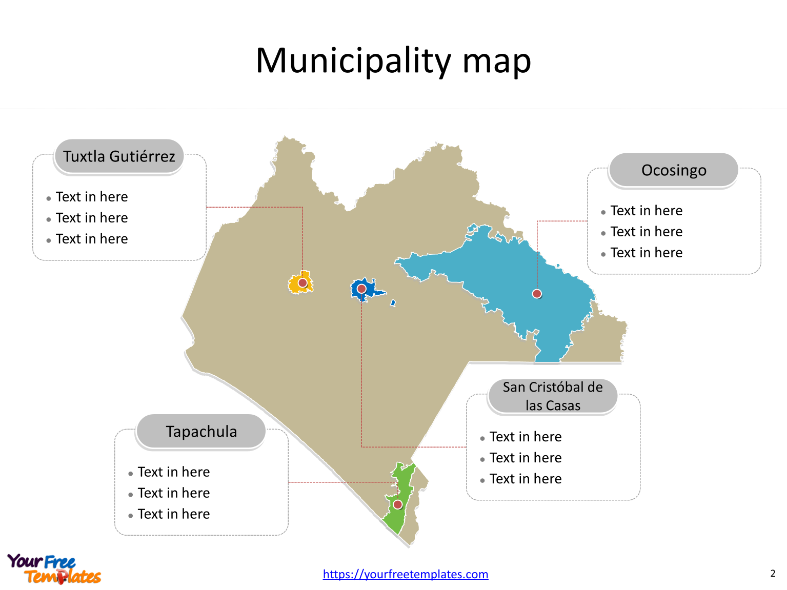 State of Mexico Chiapas map with most populated municipalities labeled on the Chiapas maps PowerPoint templates