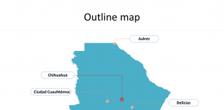 State of Mexico Chihuahua map with outline and cities labeled on the Chihuahua maps PowerPoint templates