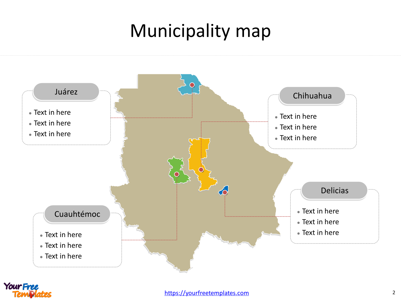 State of Mexico Chihuahua map with most populated municipalities labeled on the Chihuahua maps PowerPoint templates