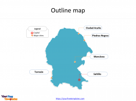 State of Mexico Coahuila map with outline and cities labeled on the Coahuila maps PowerPoint templates