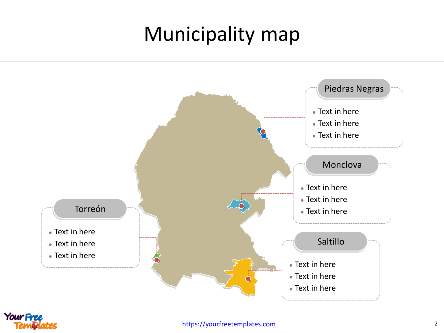 State of Mexico Coahuila map with most populated municipalities labeled on the Coahuila maps PowerPoint templates