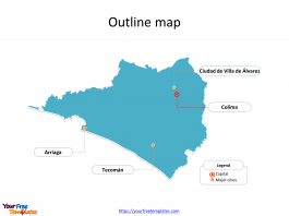 State of Mexico Colima map with outline and cities labeled on the Colima maps PowerPoint templates