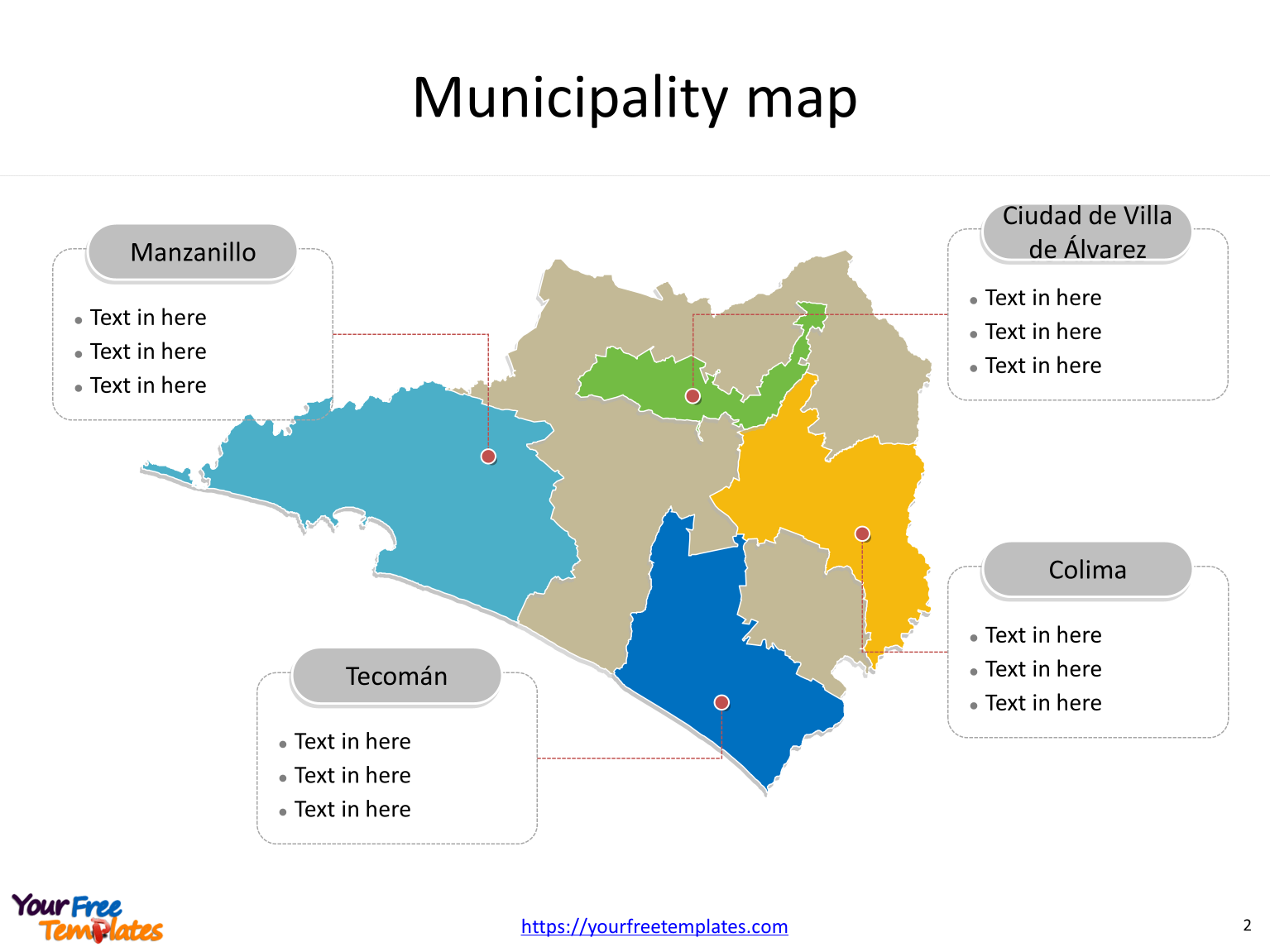 State of Mexico Colima map with most populated municipalities labeled on the Colima maps PowerPoint templates