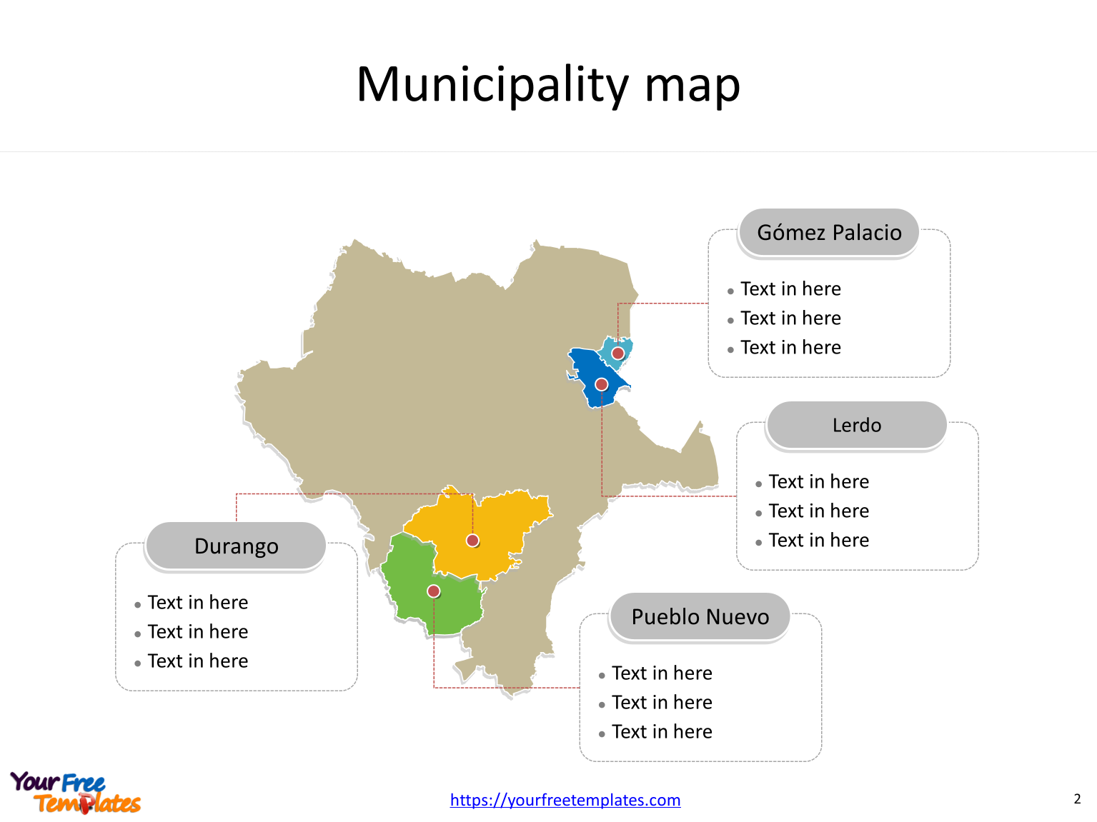State of Mexico Durango map with outline and cities labeled on the Durango maps PowerPoint templates