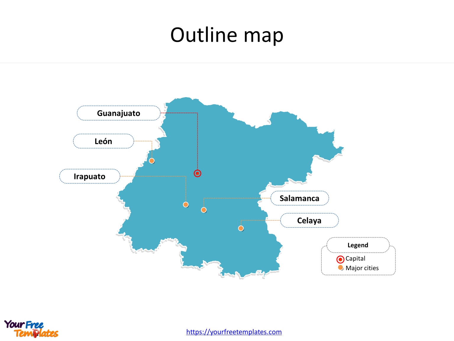 State of Guanajuato map with outline and cities labeled on the Guanajuato maps PowerPoint templates