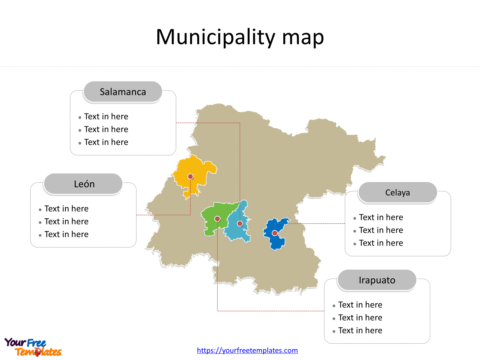 State of Guanajuato map with most populated municipalities labeled on the Guanajuato maps PowerPoint templates