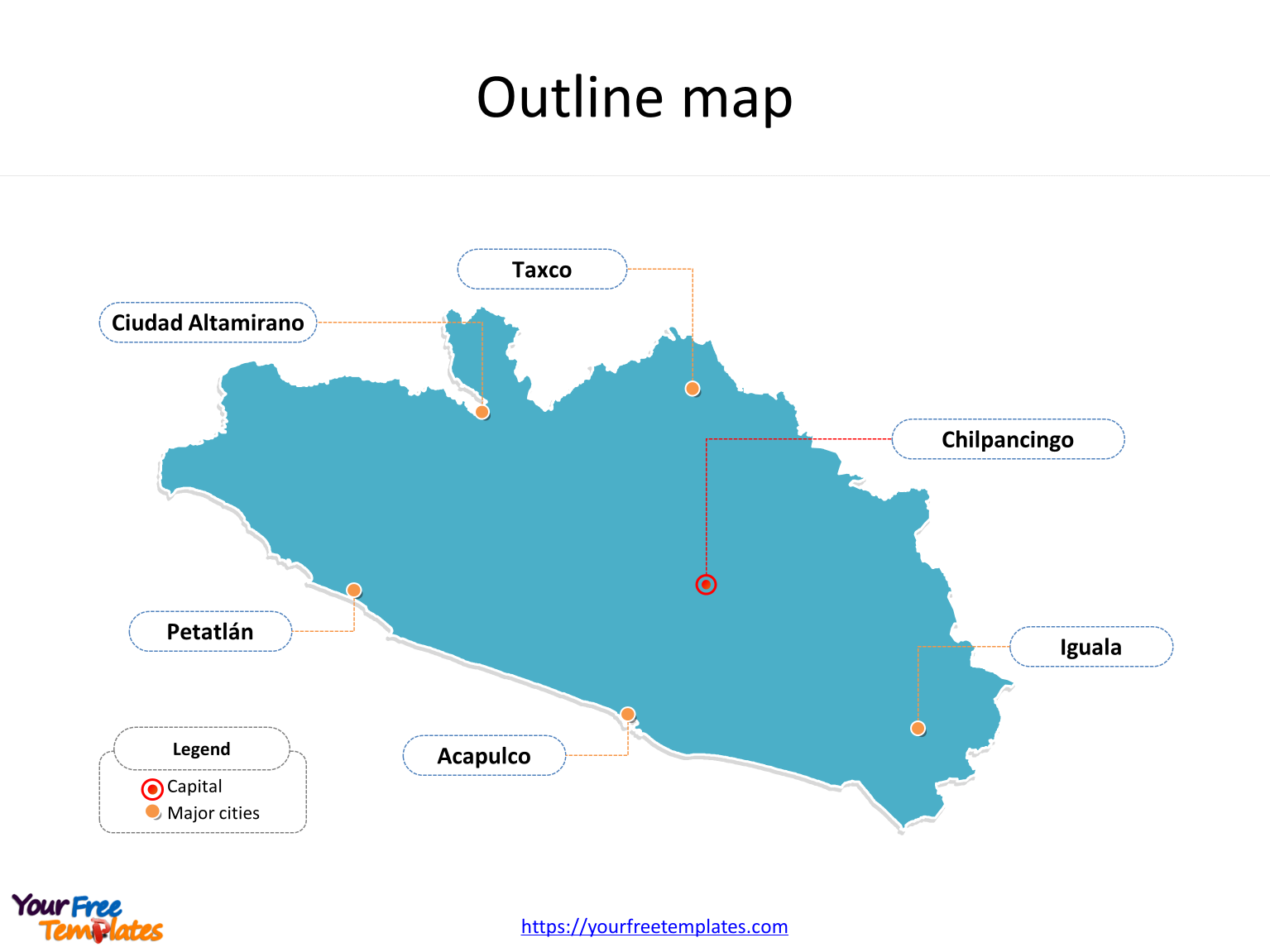 State of Guerrero map with outline and cities labeled on the Guerrero maps PowerPoint templates