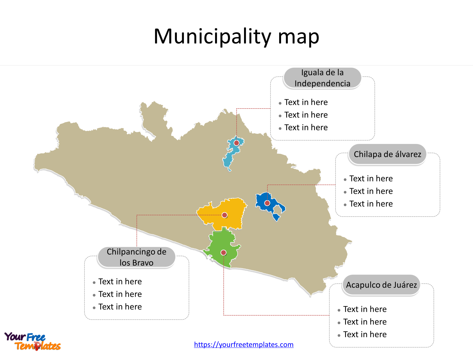 State of Guerrero map with most populated municipalities labeled on the Guerrero maps PowerPoint templates