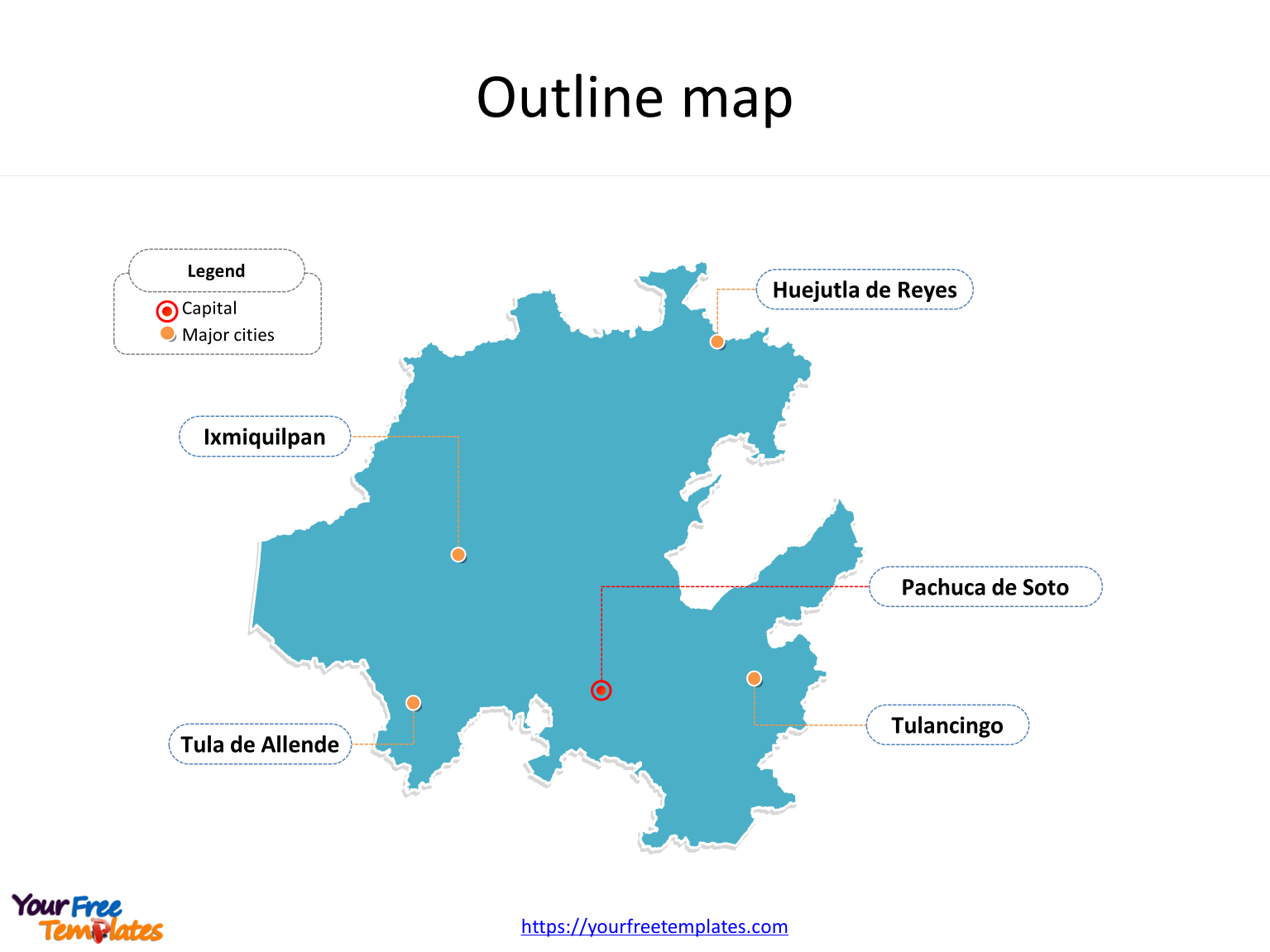 State of Hidalgo map with outline and cities labeled on the Hidalgo maps PowerPoint templates