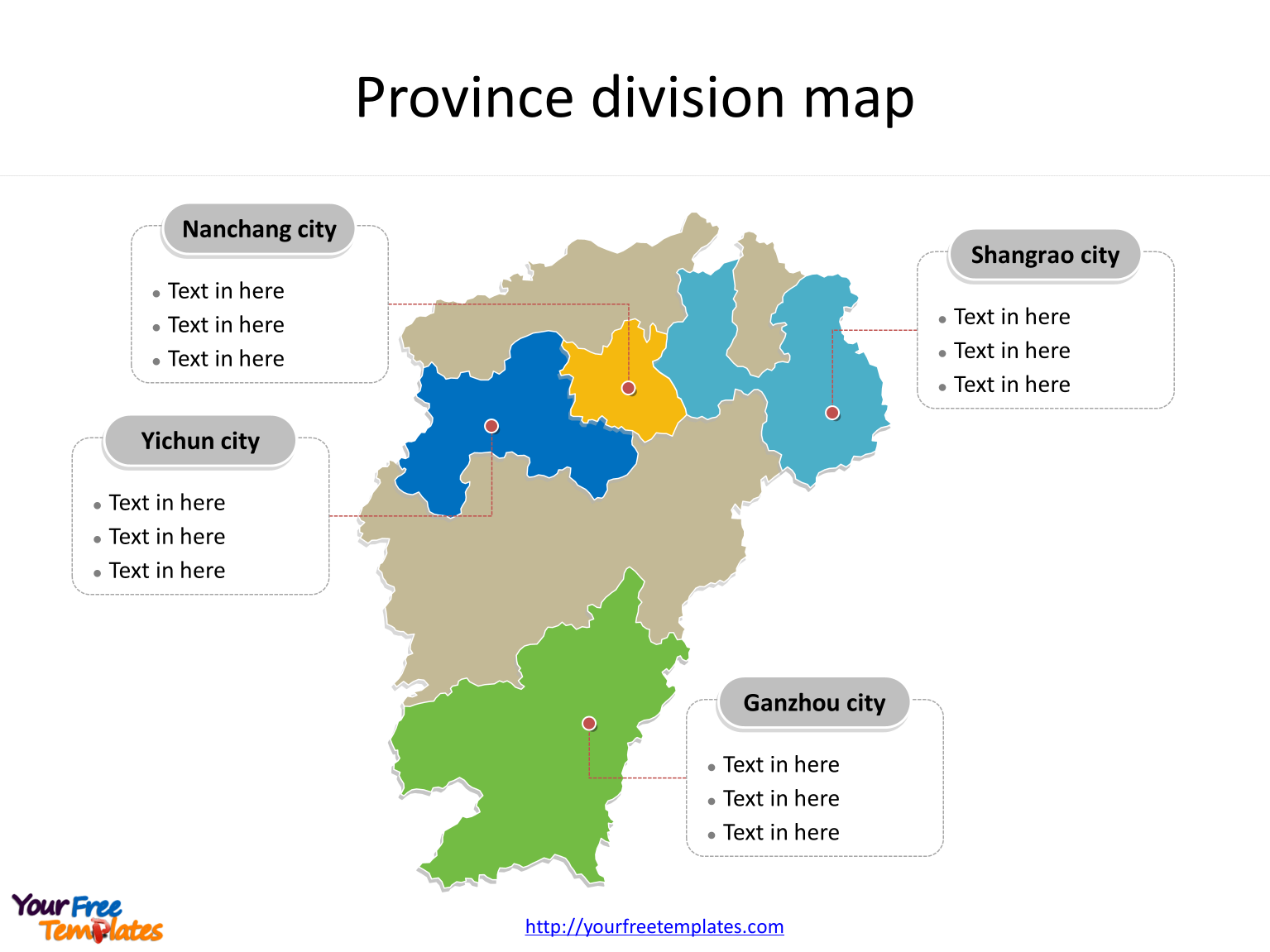 Province of Jiangxi map with most populated divisions labeled on the Jiangxi maps PowerPoint templates