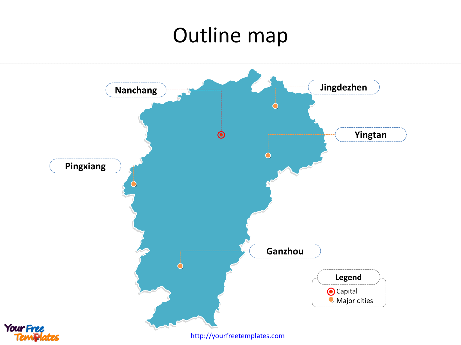 Province of Jiangxi map with outline and cities labeled on the Jiangxi maps PowerPoint templates