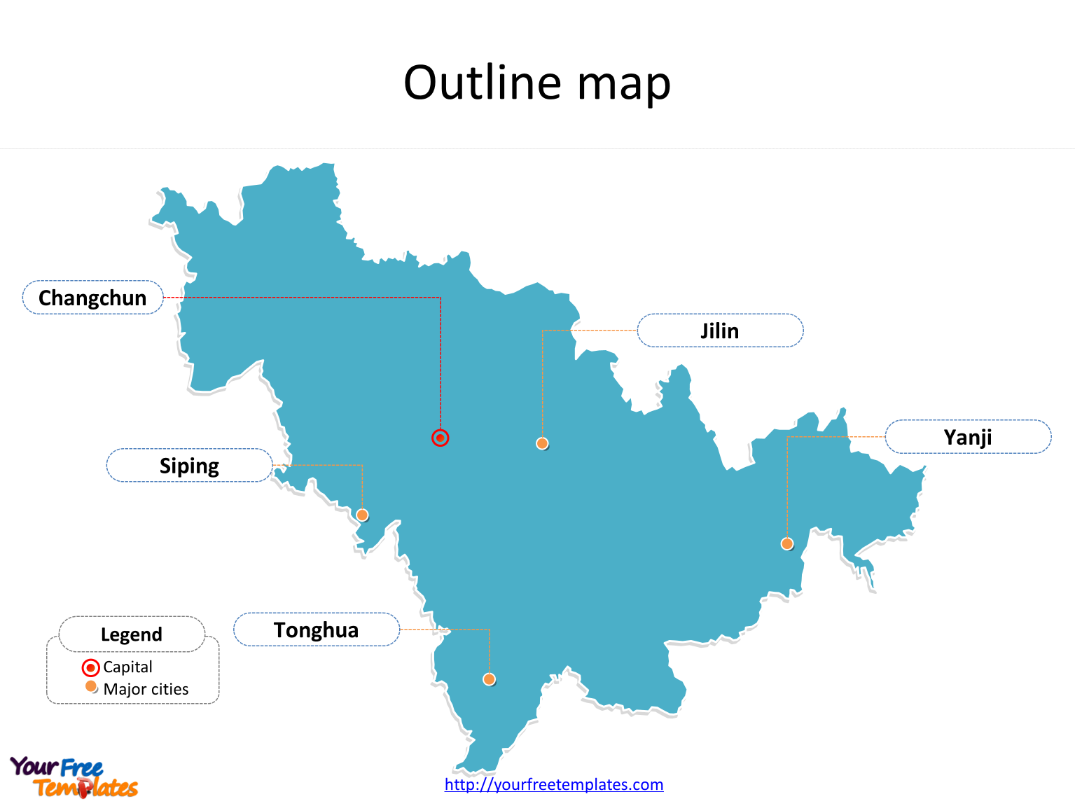 Province of Jilin map with outline and cities labeled on the Jilin maps PowerPoint templates
