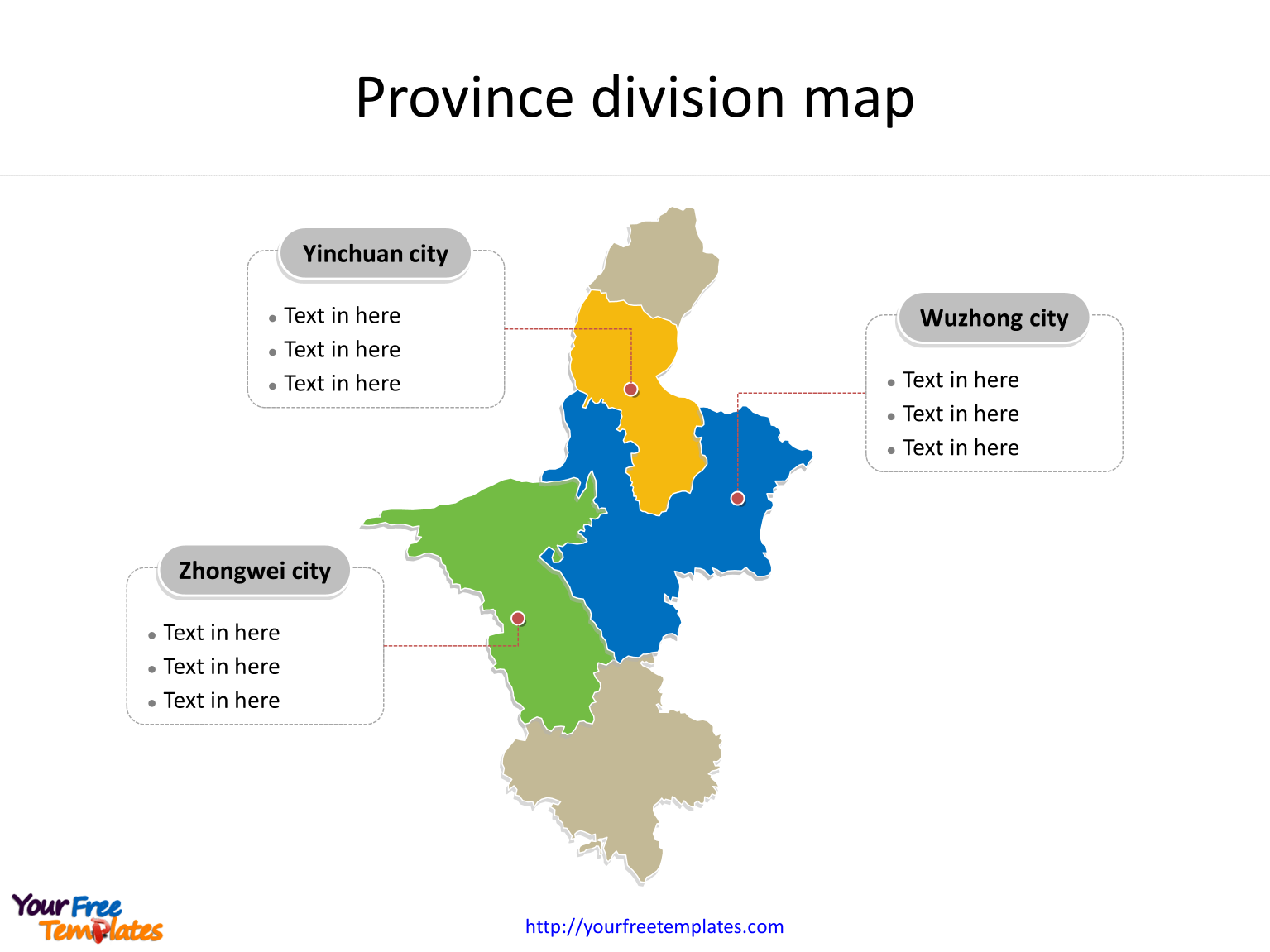 Autonomous Region of Ningxia map with most populated divisions labeled on the Ningxia maps PowerPoint templates