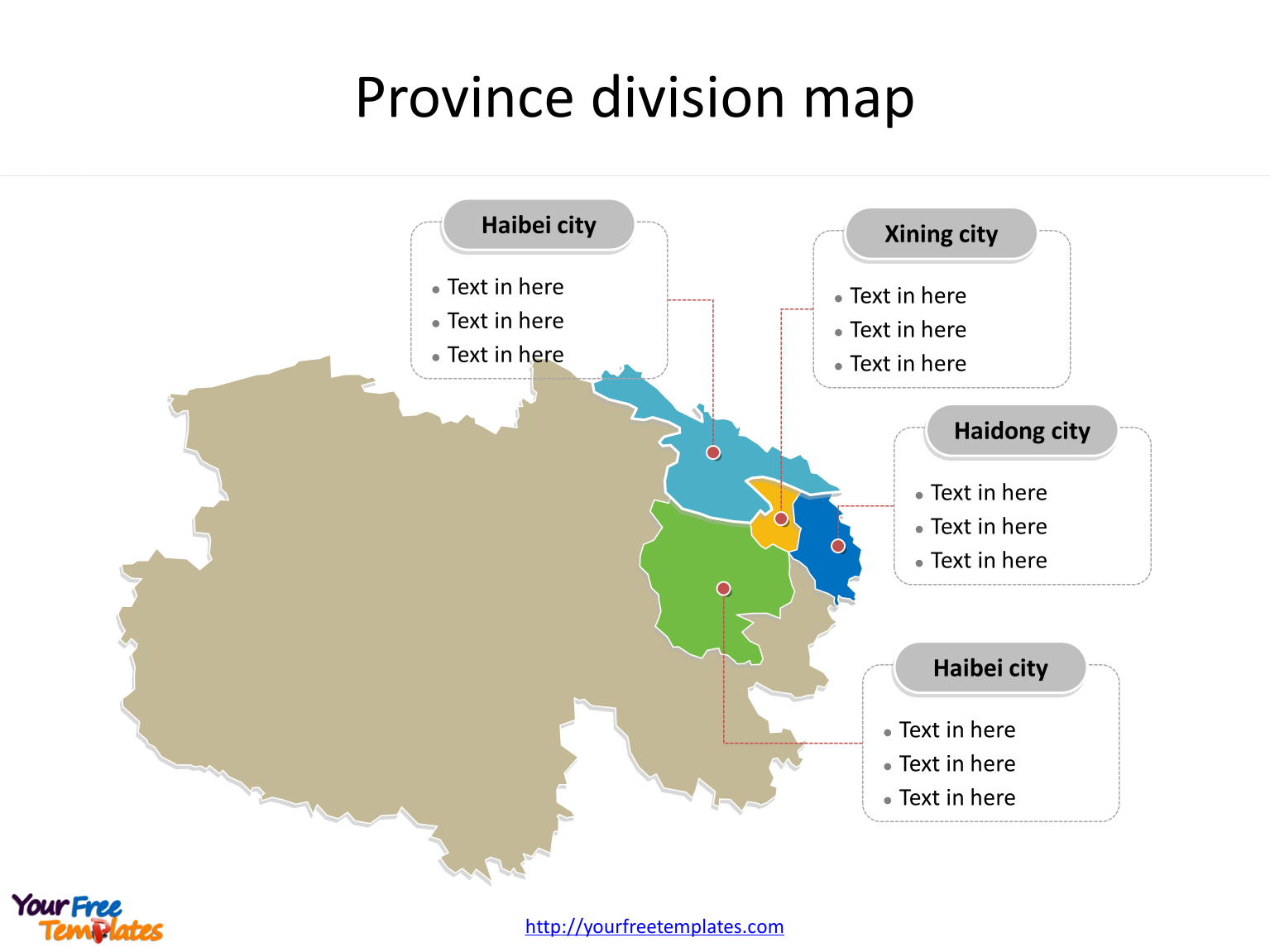 Province of Qinghai map with most populated divisions labeled on the Qinghai maps PowerPoint templates