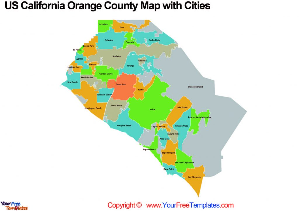California Orange County cities map which showing 34 city boundaries, along with unincorporated areas.